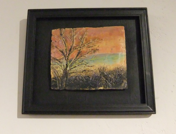 This small, Handmade, carved and glazed tile is the study for the large Winter Daybreak mosaic made in 2013. The small study was show in Aug-September group show at Middletown Art Center, Middletown, CA